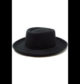 flight lux olive & pique kodi plain felt pork-pie hat black