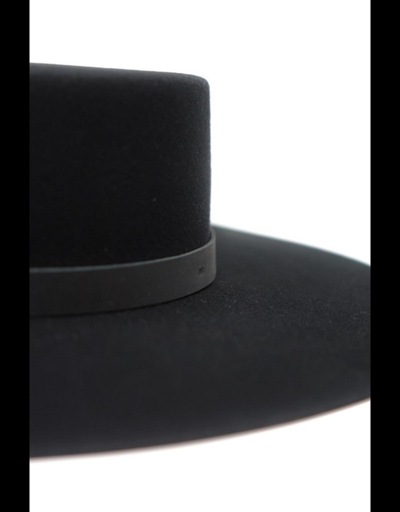flight lux olive & pique wool stiff felt boater hat black