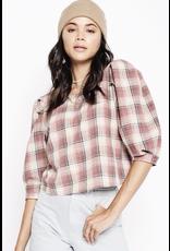 flight lux plaid puff sleeve blouse