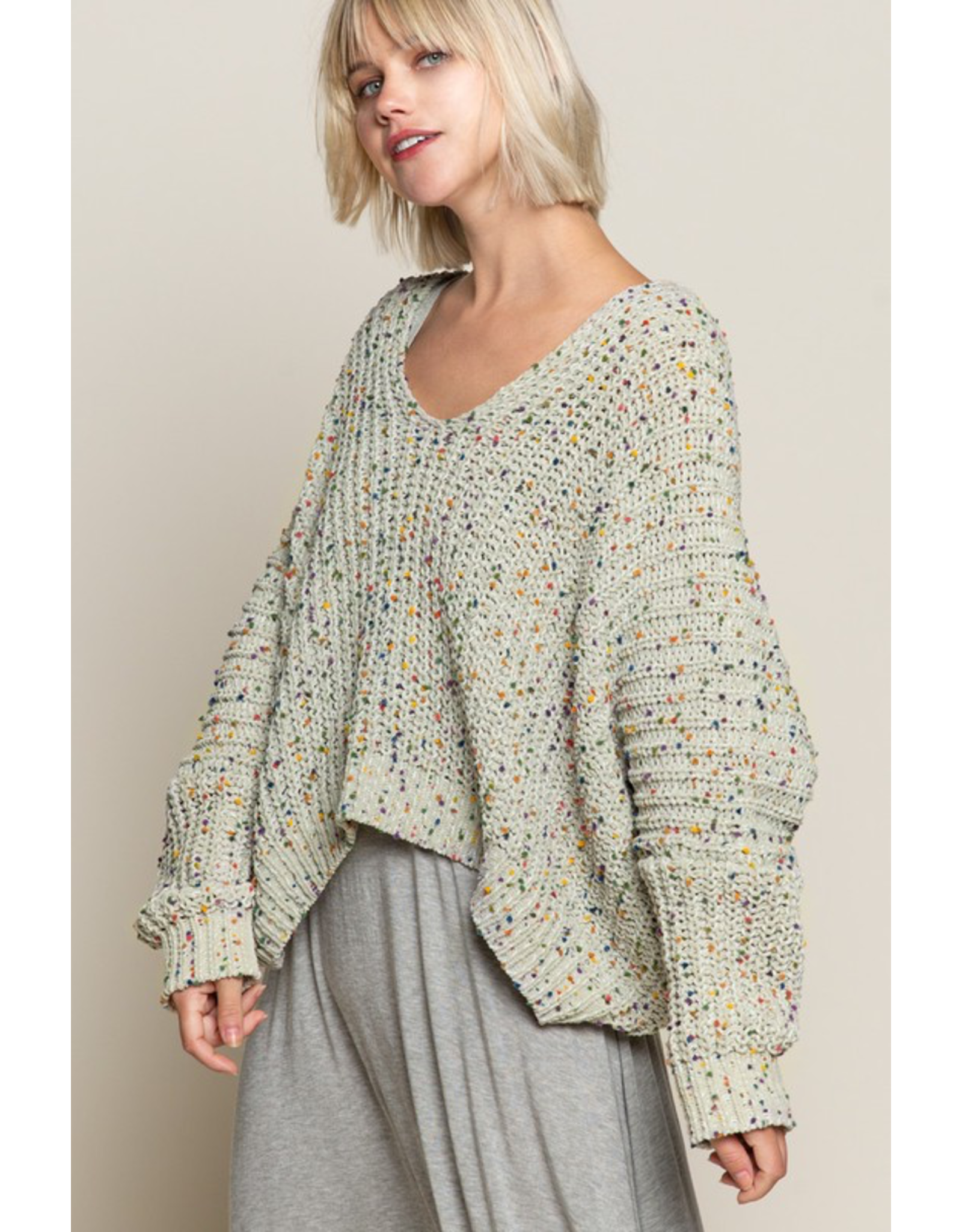 flight lux pol confetti vneck chenille sweater