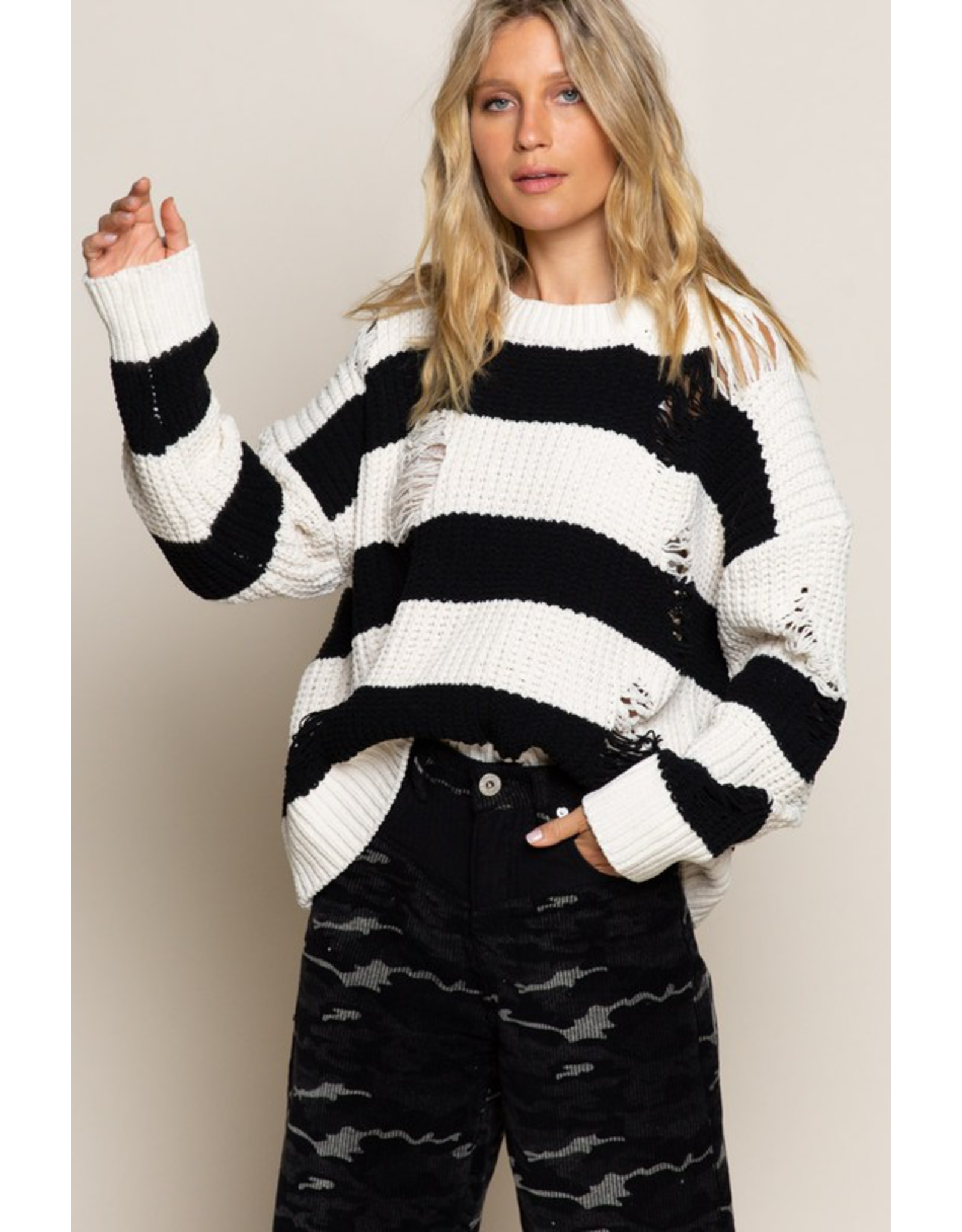 flight lux pol destroyed chenille pullover sweater with wide stripes
