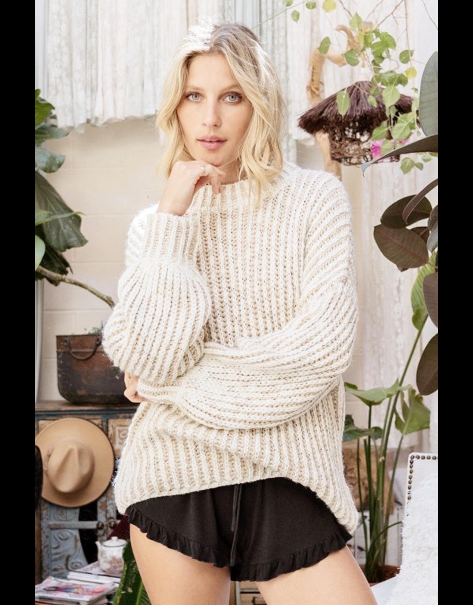 flight lux pol mock neck two tone knit sweater