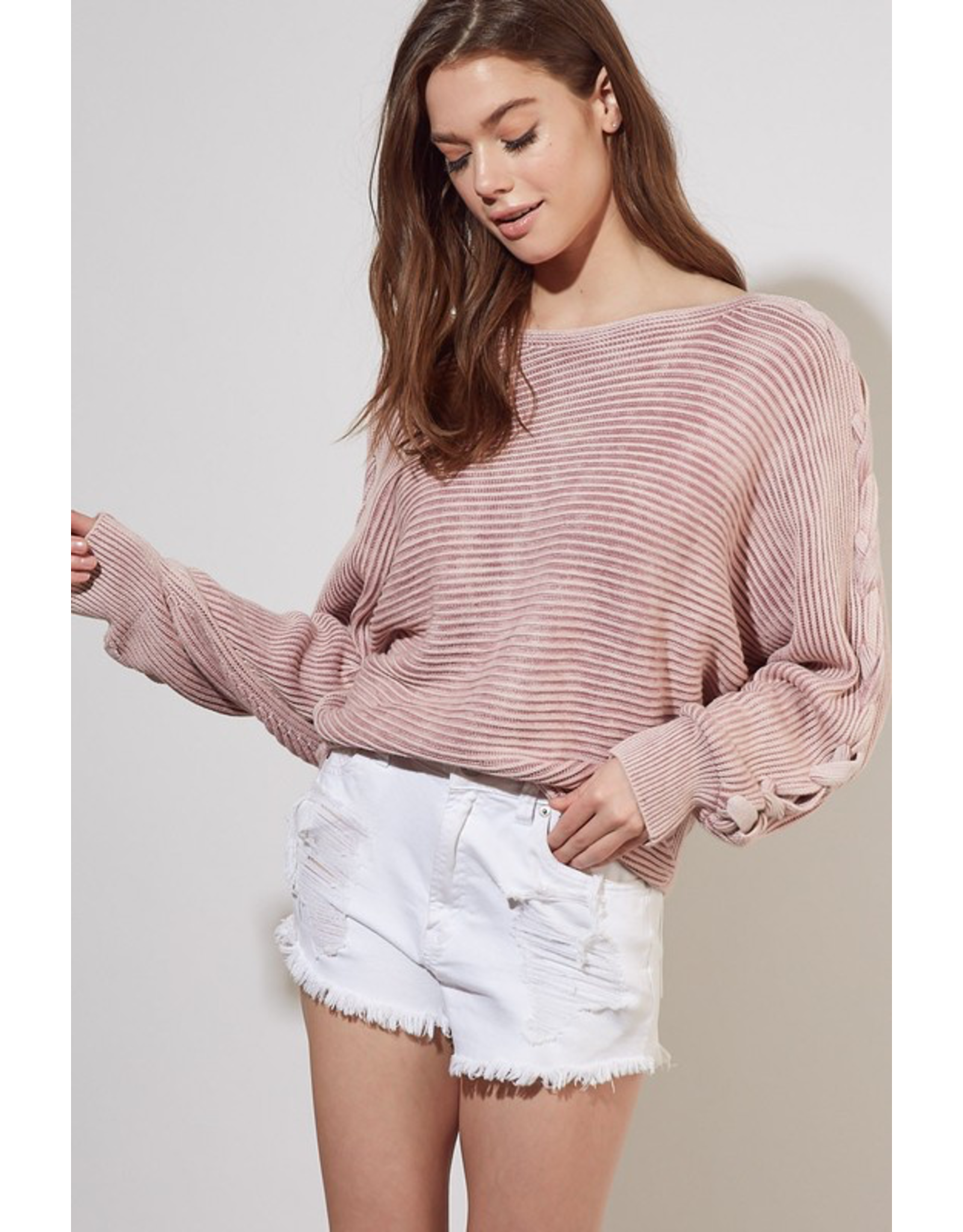 flight lux cable detail sleeve sweater