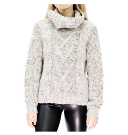 rd style rd style popcorn sleeve cable knit turtle neck