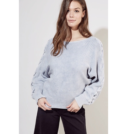flight lux mustard seed off the shoulder cable detail sweater