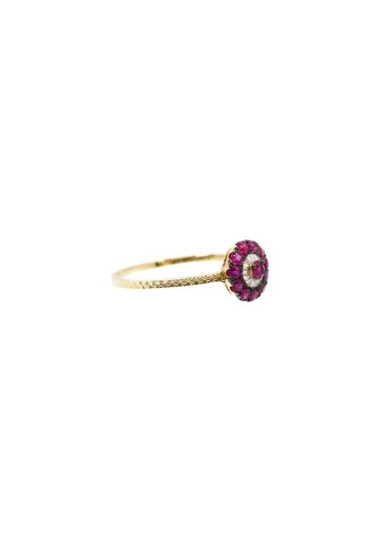 18K WHITE GOLD DIAMOND RUBY EVIL EYE RING