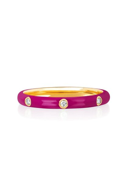 14K PINK ENAMEL GOLD DIA RING