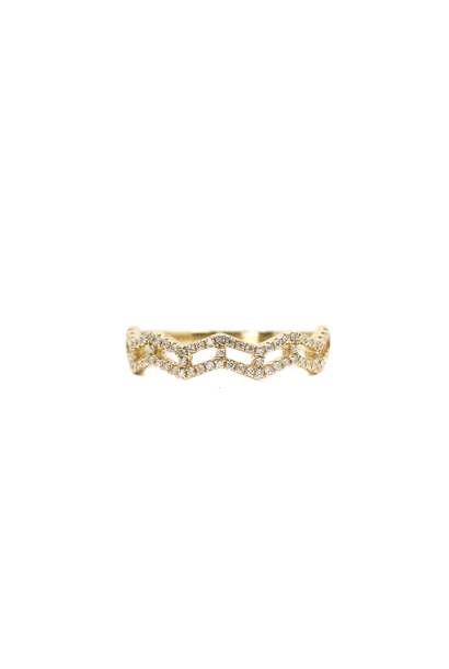 18K YELLOW GOLD DIAMOND ZIG ZAG RING