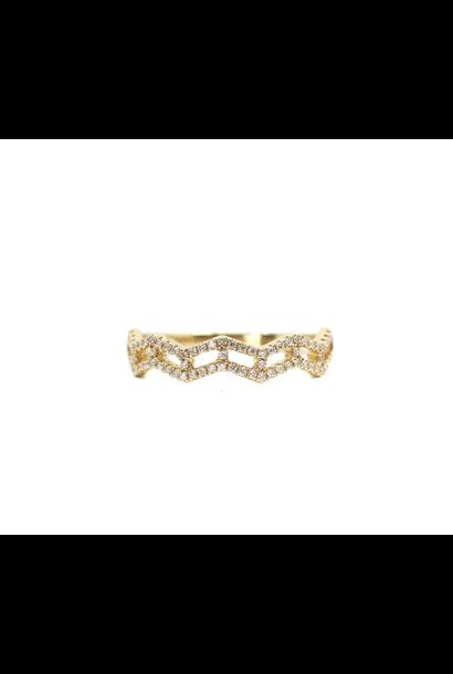 18K YELLOW GOLD DIAMOND ZIG ZAG RING