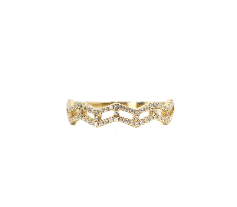 MMJ 18K YELLOW GOLD DIA ZIG ZAG RING-1