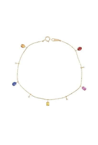 18K GOLD DIAMOND AND MULTI SAPPHIRE BRACELET