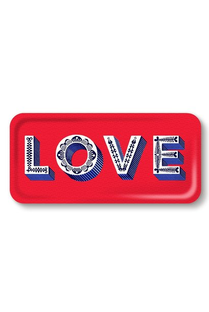 "RED RECTANGULAR SERVING ""LOVE"" TRAY"