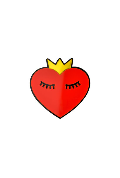 HEART WITH CROWN  ACRYLIC PIN
