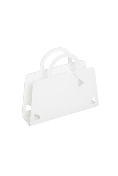WHITE PURSE MAGAZINE HOLDER