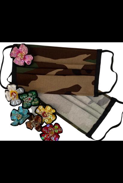 CAMO MASK HAND EMBELLISHED SEQUIN FLOWER