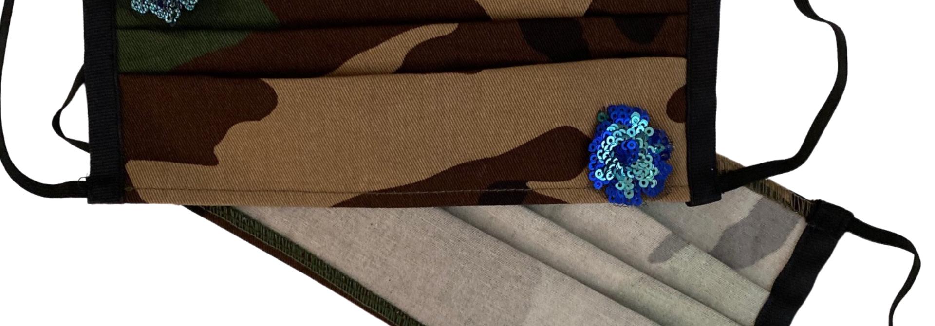 JBV CAMO MASK HAND EMBELLISHED BLUE SEQUIN FLORAL