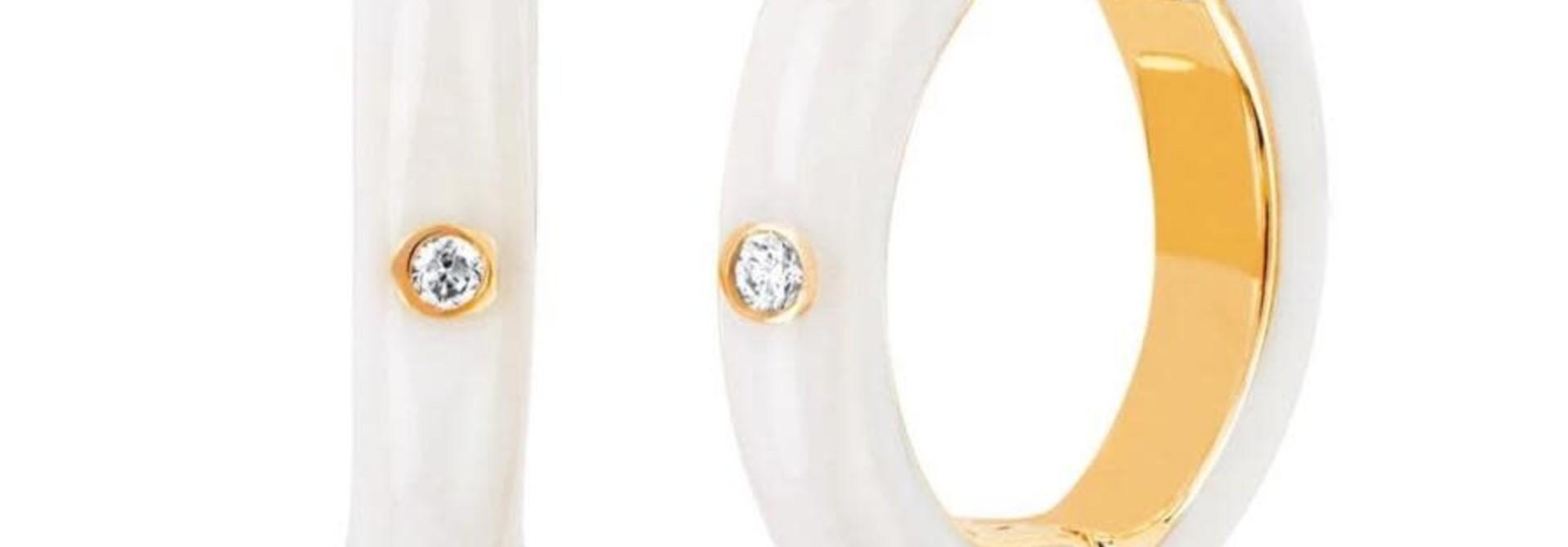MMJ 14KT YELLOW GOLD DIAMOND WHITE ENAMEL HUGGIES