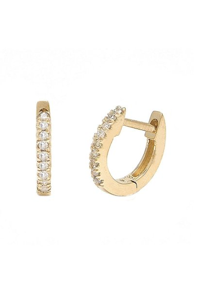 14KT YELLOW GOLD PAVE DIAMOND MICRO HOOP EARRINGS