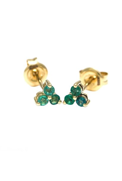 YELLOW GOLD EMERALD TRIO EARRINGS
