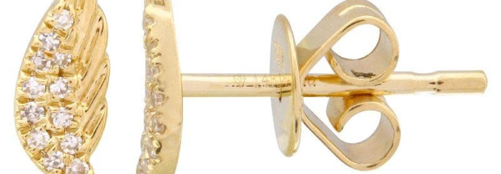 MMJ 14KT YELLOW GOLD DIAMOND WING EARRINGS
