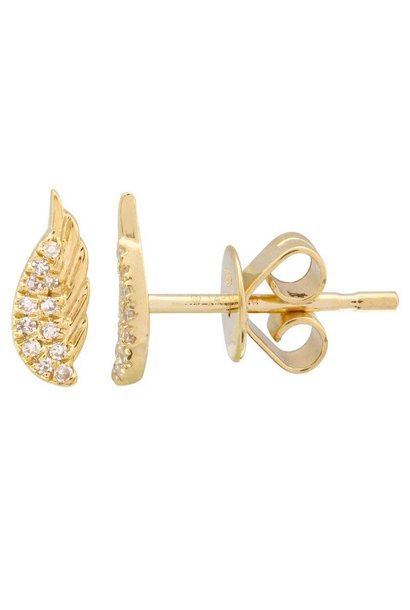 14KT YELLOW GOLD DIAMOND WING EARRINGS
