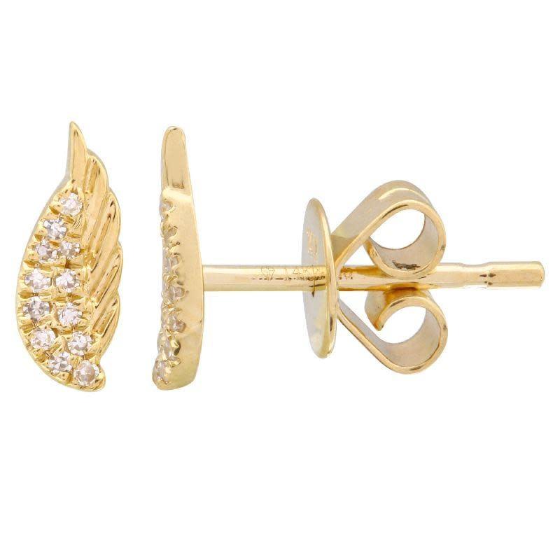 MMJ 14KT YELLOW GOLD DIAMOND WING EARRINGS-1