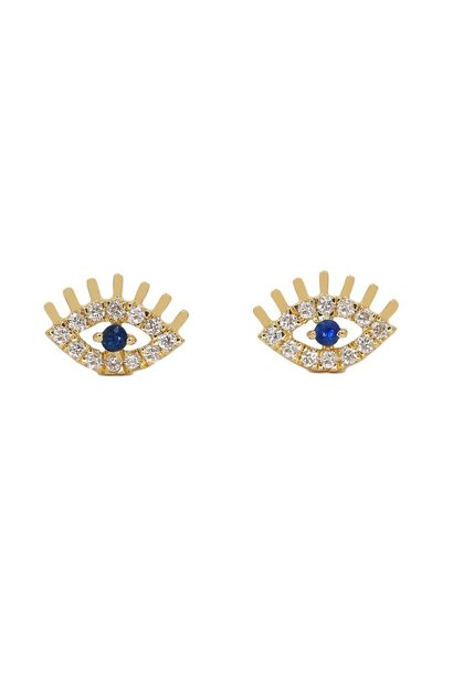 14KT YELLOW GOLD DIAMOND EVIL EYE BLUE SAPPHIRE EARRINGS