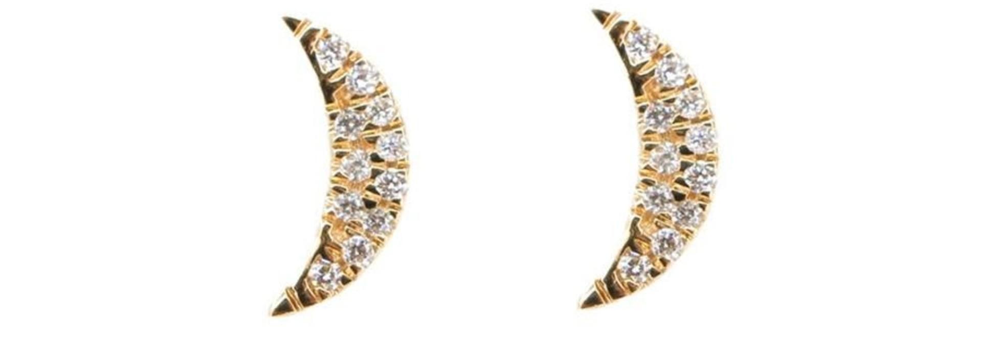 MMJ 14 KT YELLOW GOLD DIAMOND MINI MOON EARRINGS