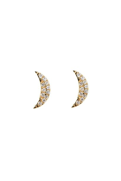 14 KT YELLOW GOLD DIAMOND MINI MOON EARRINGS