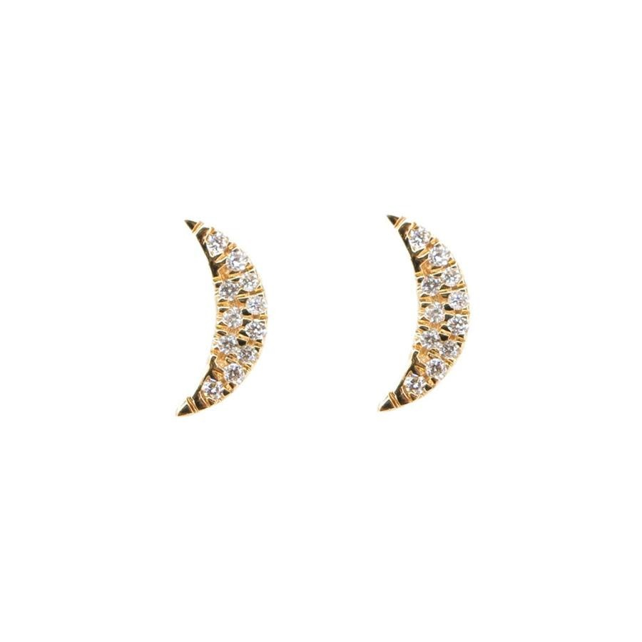 MMJ 14 KT YELLOW GOLD DIAMOND MINI MOON EARRINGS-1