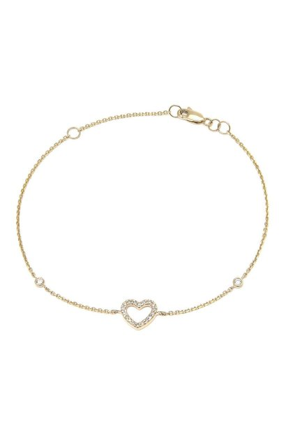 14K GOLD DIAMOND HEART BRACELET