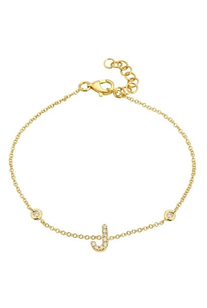 "14K GOLD DIAMOND INITIAL ""J"" BRACELET"