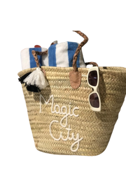 MAGIC CITY STRAW TOTE, WHITE