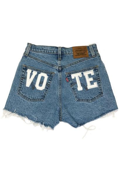 LEVI'S VOTE RIBCAGE SHORTS TANGO STONEWASH