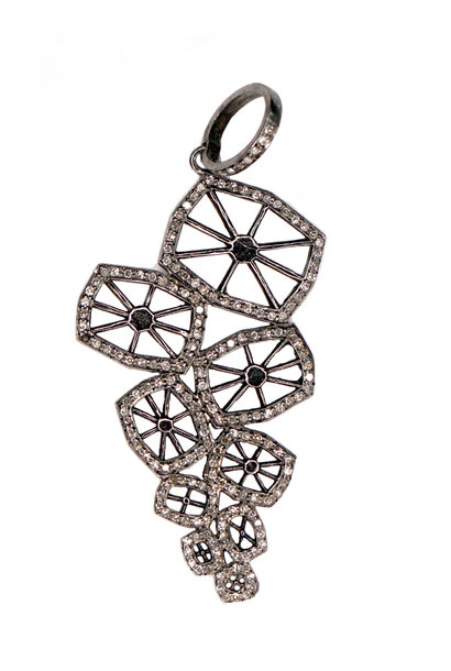 SILVER DIAMOND GEOMETRIC PENDANT