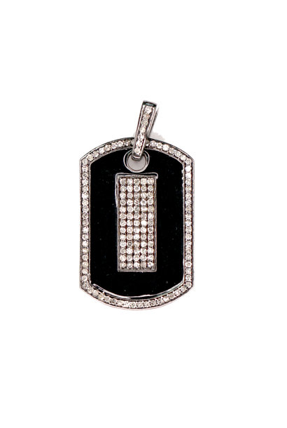 BLACK ENAMEL DIAMOND DOG TAG PENDANT