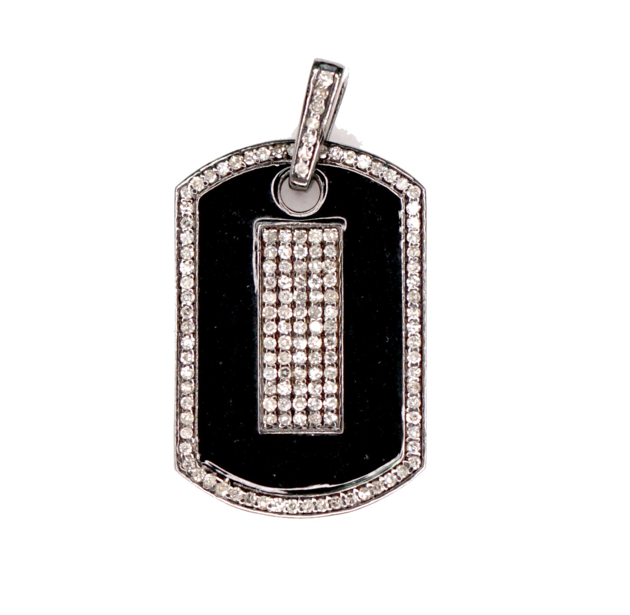 MMJ BLACK ENAMEL DIAMOND DOG TAG PENDANT-1