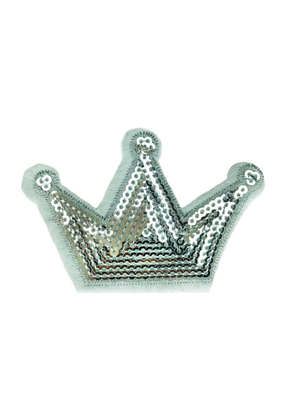 SEQUIN SILVER CROWN PATCH