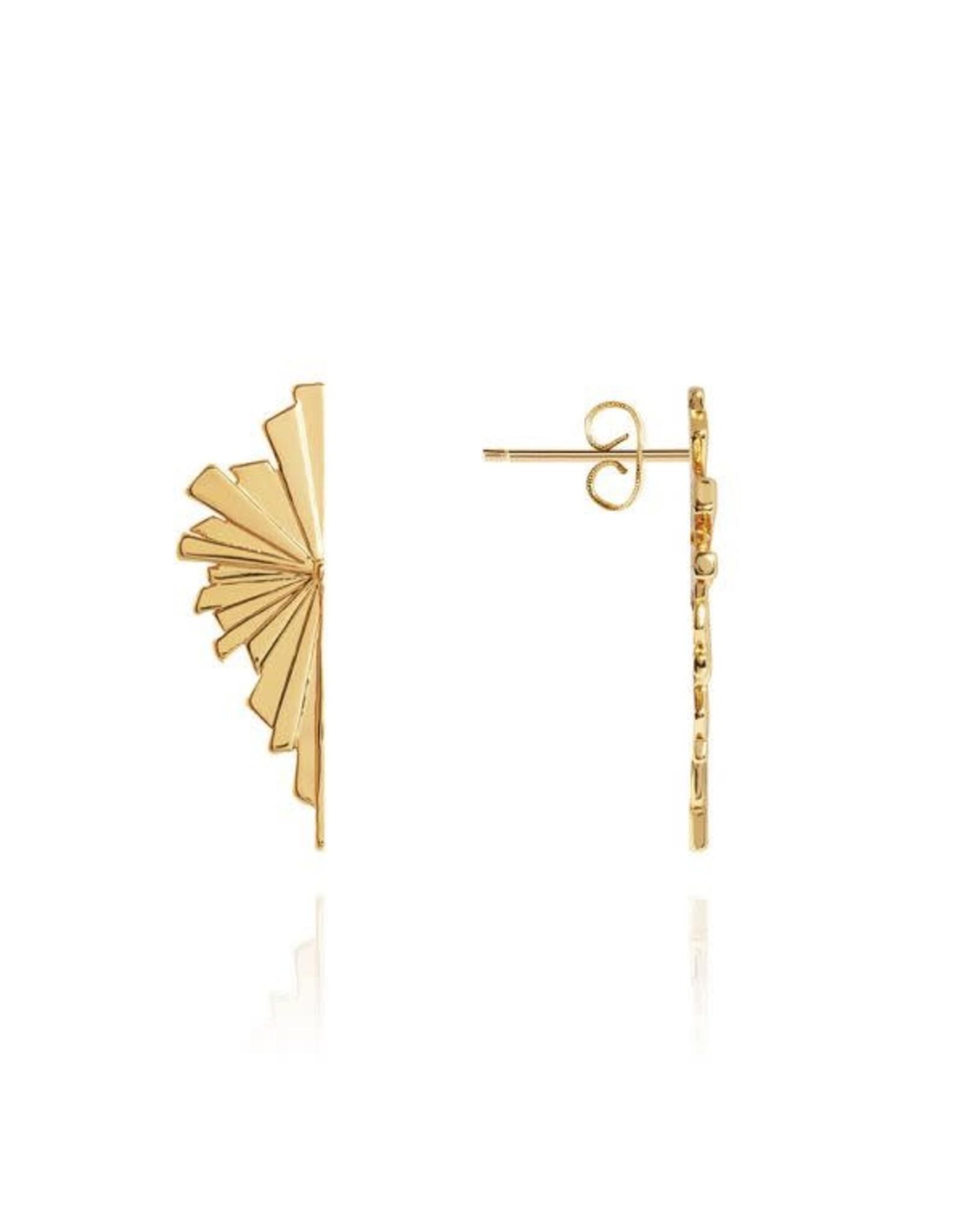 Katie Loxton Statement Studs -Golden Fan -Stud Earring