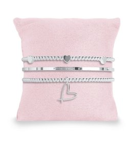 Katie Loxton OCCASION - with love - 3 silver stacking bracelets