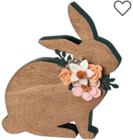 Bunny w/Flowers Shelf Sitter