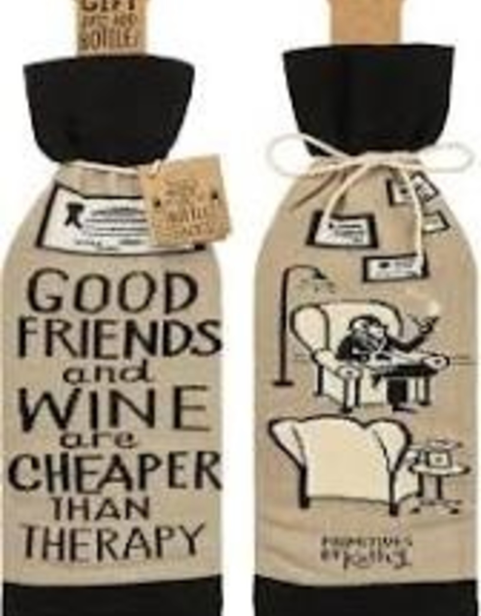 Cheaper Than Therapy Wine Sock