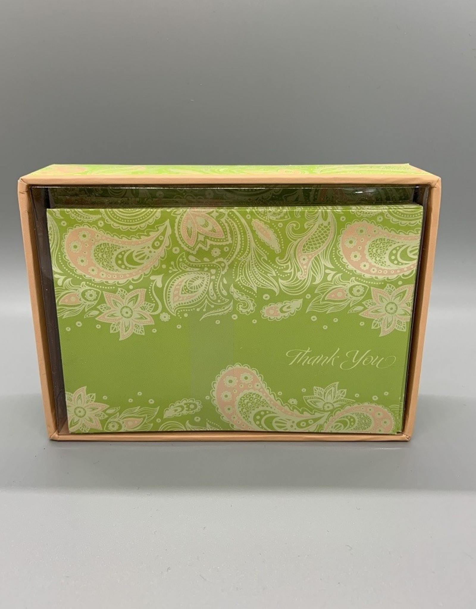 Pictura Thank you Note Cards Green Paisley