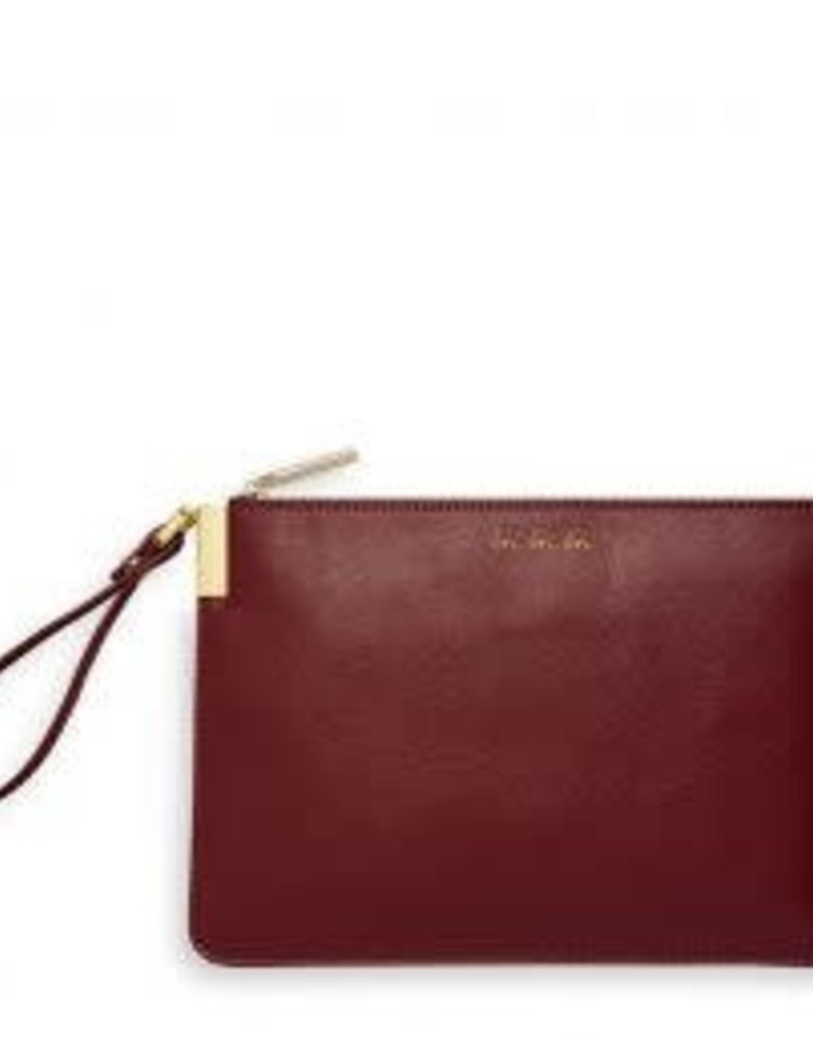 Katie Loxton Secret Message Clutch - Love Love Love/Heart of Gold Burgundy