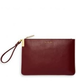 Katie Loxton Secret Message Clutch - Love Love Love/Heart of Gold Burgundy