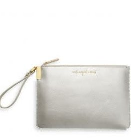 Katie Loxton Secret Message Clutch - Create Magical Moments/There's Always Time to Shine Silver