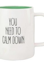 Mary Square Ceramic Mug, Calm Down