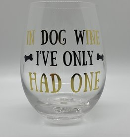 Mary Square Stemless Wine Class, Dog Wine