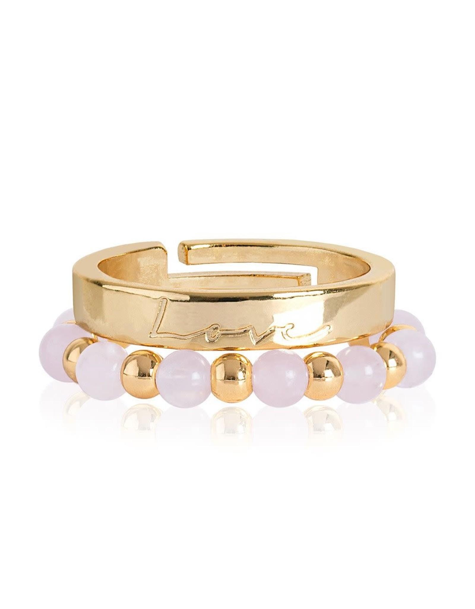 Katie Loxton SIGNATURE STONES - LOVE RINGS - gold/rose quartz