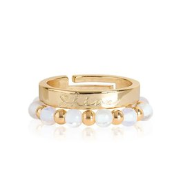 Katie Loxton SIGNATURE STONES - SHINE RINGS - gold with moonstone